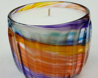 Medium size Hand blown rainbow color candle - one of a kind gift