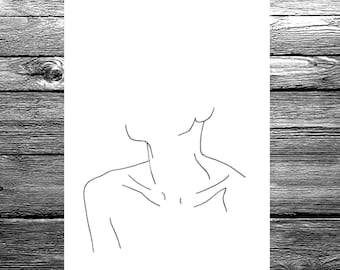 Women's neckline linear line drawing available in A6, A5 or A4 size, black and white minimal illustration hand drawn artwork