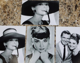 Audrey Hepburn and George Peppard Breakfast At Tiffany's 5x7  SET of 4 5x7's