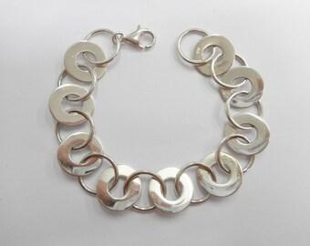 """Vintage Sterling Bracelet, Vintage Bracelet, Circle Link Bracelet, Vintage Sterling Silver Highly Polished Circle Bracelet 7"""" #1313"""