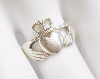 Claddaugh Ring, Sterling Ring, Sterling Band, Claddaugh Band, Sterling Silver Band, Sterling Silver Claddagh Ring Sz 6.5 #1460