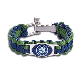 Seattle Mariners Paracord Survival Bracelet with Adjustable Shackle