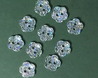 Clear Glitter Flower Buttons - Pack of 10 x 10mm Silver Glitter Flower Buttons - Wedding Embellishment - Bridal Shower - Sparkly Buttons