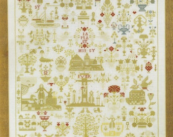 Sampler 1830 KIT by Permin of Copenhagen Counted Cross Stitch Pattern/Chart/Threads and Linen