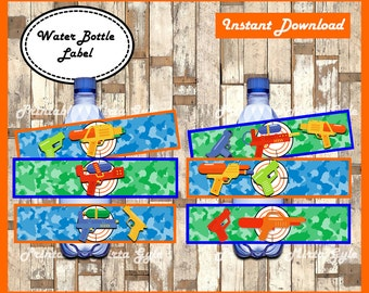 Water Gun Water Bottle Label, printable Water Gun party Water Bottle Label, Water Gun Bottle labels