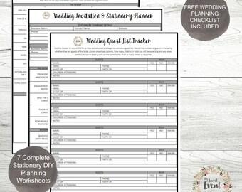 DIY Wedding Stationery Planning Worksheets, Wedding Planner Instant Download Printable PDFs