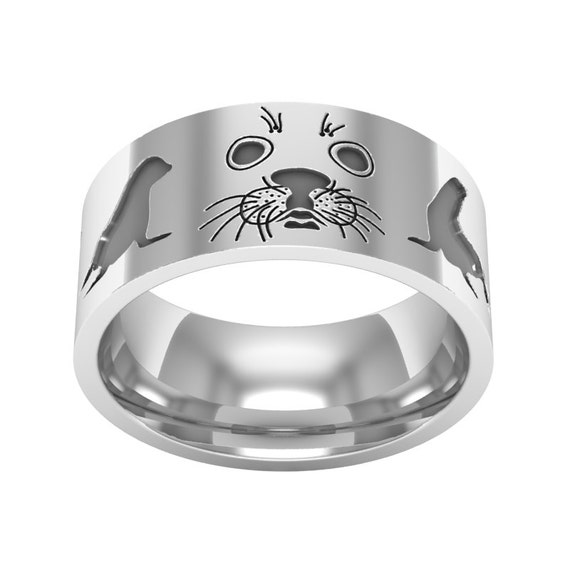 Sterling silver sea lion band ring sea lion ring sea lion like this item mozeypictures Image collections