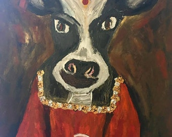 One of a Kind Reverse Cow Painting on Canvas