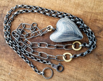Large Puff Heart Neacklace, Handmade Oxidized Sterling Silver with 18K Gold Rings, Unique Jewelry