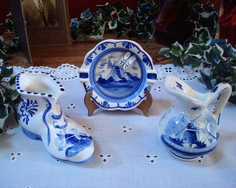 Vintage Hand Painted Delft Blue Porcelain Pitcher, Lady's Shoe and Ashtray with Windmill Scenes by DAI