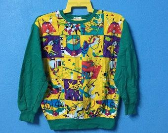 Rare!!vintage 90s international paris tokyo new york sweatshirt nice design size M