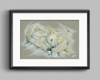 Cherish - Polar Bears Pastel Drawing, Polar Bears Pastel Prints, Polar Bear Wall Art, Giclee Print, Polar Bear and Cub Pastel Drawing