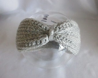 Baby headband grey selfmade turban ear warmers with wool of Earwarmer headband