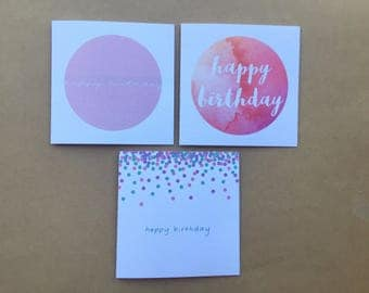 Happy Birthday Greeting Cards - Warm Range / Pack of 3