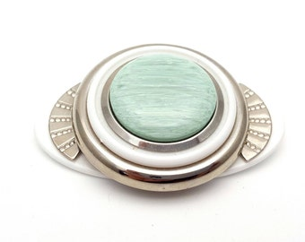 Large Modern Turquoise White and Silver Tone Plastic Oval Brooch Vintage from the 80s Modernist Runway statement jewelry