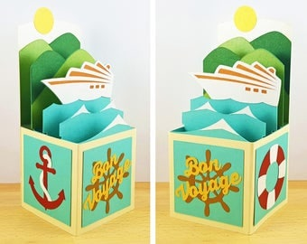 Bon Voyage Pop Up Card, Cruise Ship Pop Up Card, Pop Up Greeting Card, 3D Pop Up Box Card, CardBloom