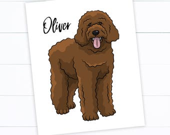Doodle Illustration with Name - Customize color - Goldendoodle - Labradoodle - Sheepadoodle - Pet - Love - Dog - Fluffy - Aussiedoodle