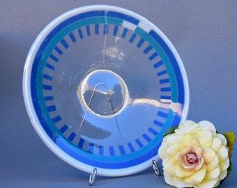"Large kiln glass bowl white, transparent blue and clear 16"" diameter"