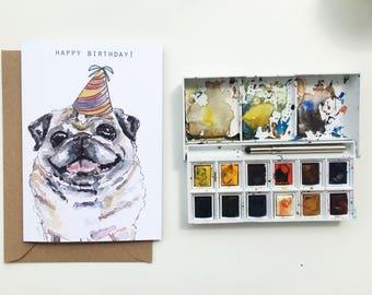 Pug card, A6 pug birthday card, Pug dog greeting card, Pug lover card, Pug dog card, funny pug card, Pug birthday card, pug owner, Dog gift,