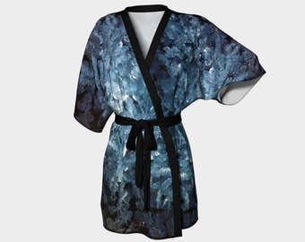 Throat Chakra Kimono Robe, Abstract Kimono Robe, Modern Kimono Robe, Bridesmaid Robes, Asian Robes, Silky Knit Robes