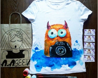 Hand Painted T-Shirts - Happy Life - The Weeknd Clothing - Mothers Day Gift Ideas For Her - Summer Shirt - Cat Lover Gifts For Travelers