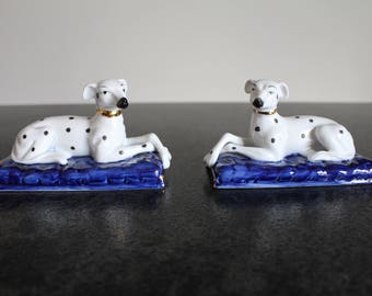 Pair of Dalmatian Dog Figurines, Mantel Dogs
