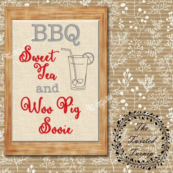Funny Arkansas Razorbacks Hogs BBQ Sweet Tea and Woo Pig Sooie Machine Embroidery Design 5x7