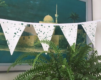 Paint Splatter Print Green and White Fabric Bunting Garland Flag Decoration - Handmade by BNTNG
