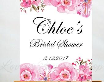 BRIDAL SHOWER SIGN-Blush pink Peony Pink Chic Modern Watercolor Illustration Bridesmaid Gift Digital Download-Paris Collection- Wedding Diy