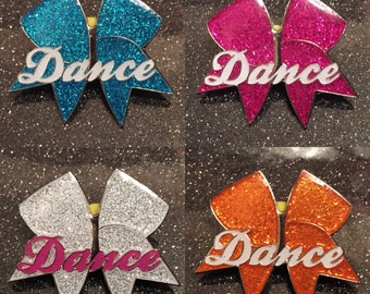 DEAL Of The WEEK - Dance Pin - Available in 4 colours, Pink, Blue, White, Orange - Cheerleader Cheer Bow Pin Cheer Bow Tradaing Pin Badge