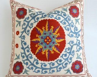 SALE Suzani Cushion Cover Sofa Pillow Embroidered Suzani Pillow Cover Suzani Pillowcase Beige Blue Floral Pillow Throw Pillow Accent Pillow