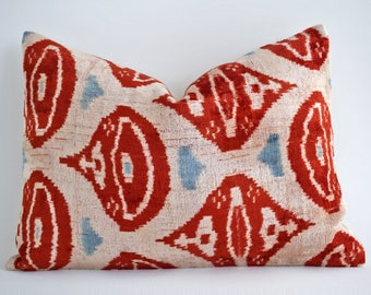 SALE! Handwoven Silk Luxury ikat velvet pillow, pillow, velvet, ikat pillow cover, velvet pillow, ikat, throw pillow, Red velvet ikat pillow