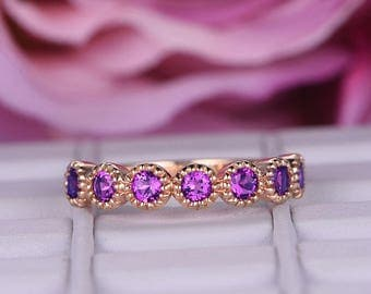 Curved loop 3mm Round 1ctw Amethyst band in 14k rose gold/Bridal Wedding band/Classic art deco milgrain ring/Valentine's Day gift/Birthstone
