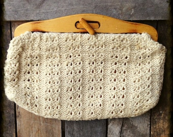 Vintage Knitted Handbag Wooden Toggle FREE SHIPPING