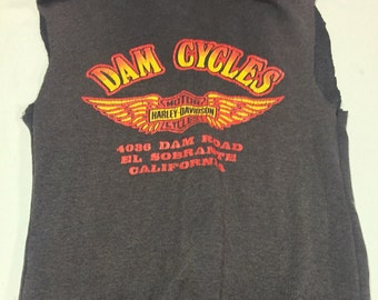 Vintage Harley Davidson hoodie hooded sweatshirt paper thin 70's faded black size SMALL Dam Cycles CA