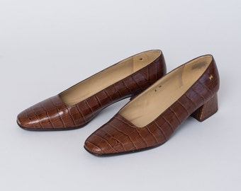Vintage Brown Genuine Leather Faux Snakeskin Pattern Square Toe Heels by Etienne Aigner Size 8M