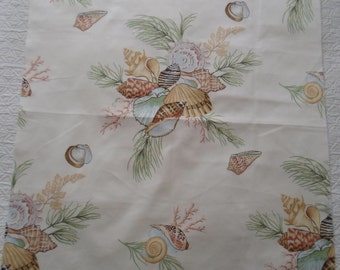 THIBAULT Shells and Coral Fabric in cream, green & peach  100% cotton