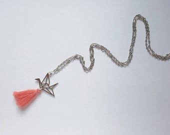 Origami and Pompom necklace pink