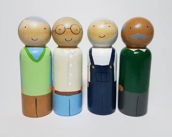 Grandpa Peg Doll, Dollhouse Figurines, Natural Wooden Toys, Pick Your Family Peg Dolls, Montessori Wooden Toys, Grandparent gift