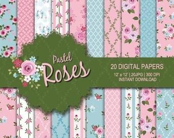 Rose digital paper, Flower digital paper, Pink digital paper, Sky blue digital paper, Rose printable, commercial use, rose digital