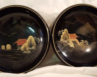 Vintage Mid- Century Japanese/ Asian Black Lacquer Wooden Soup, Salad or Rice Bowls