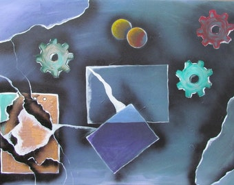"Abstract acrylic painting ""Gears"" 100 x 70 cm"
