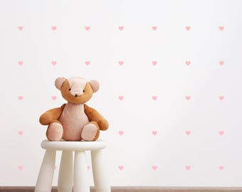 Heart Wall Decal - 2.5cm Set of 105+ - Wall Sticker Pattern - Nursery Decor Kids Decal | PP110