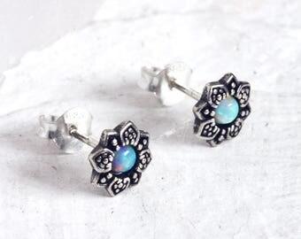 LARA. Sterling Silver Flower White Opal Stud Earrings