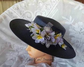 Navy Blue Straw Hat with Purple Flowers, OOAK, Races Hat, Derby Hat, Melbourne Cup, Derby Hat