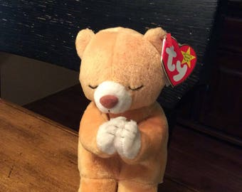 Ty Beanie Baby HOPE Praying Bear has tag errors - Retired Rare