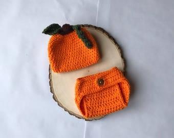 Crochet newborn set-pumpkin newborn set- fall newborn set-newborn hat-newborn photo prop-ready to ship