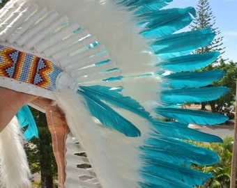 AQUA WAR-BONNET head dress chief feathers leather bead native american indian party