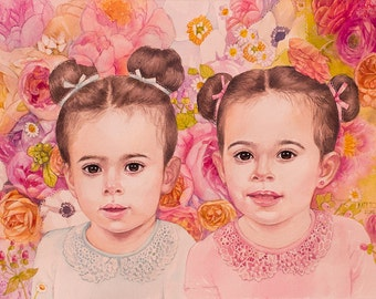 Custom Twins Watercolor Portrait Child Kid Hand Painted Personalized Artwork Realistic painting from your photographs. twins art cute gift.