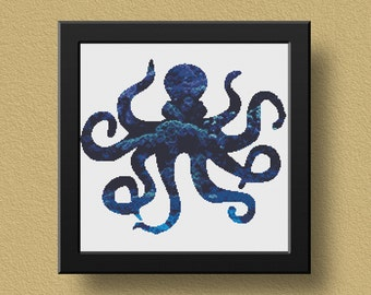 Octopus Cross Stitch Pattern, Nautical PDF Pattern, Cross Stitch Chart, Modern Cross Stitch Template, Abstract, Sea Creature, Sea, Ocean